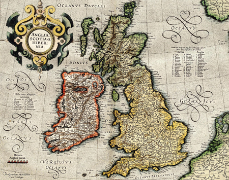 British Isles by Gerardus Mercator (1596)