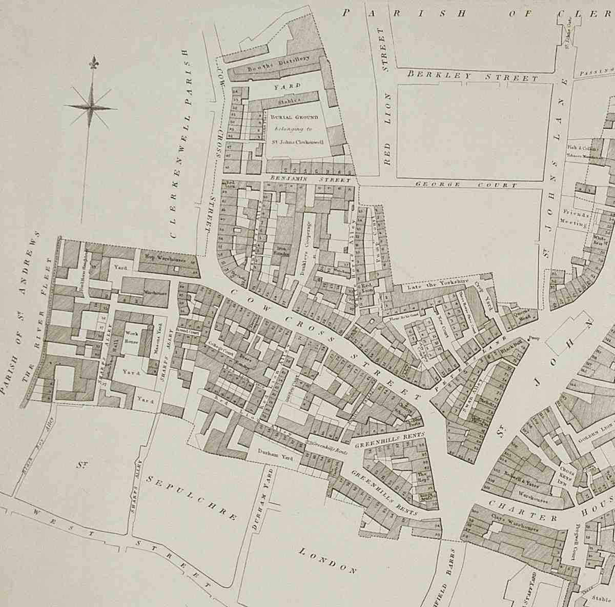 Cowcross Street, From A Map Of The Parish Of St Sepulchre Without, 1823  The Northern Part Of The Street Became Part Of Turnmill Street In 1925