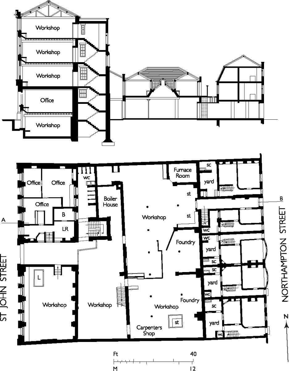 st john street east side british history online nos 214 222 st john street plan and section in the early 1900s