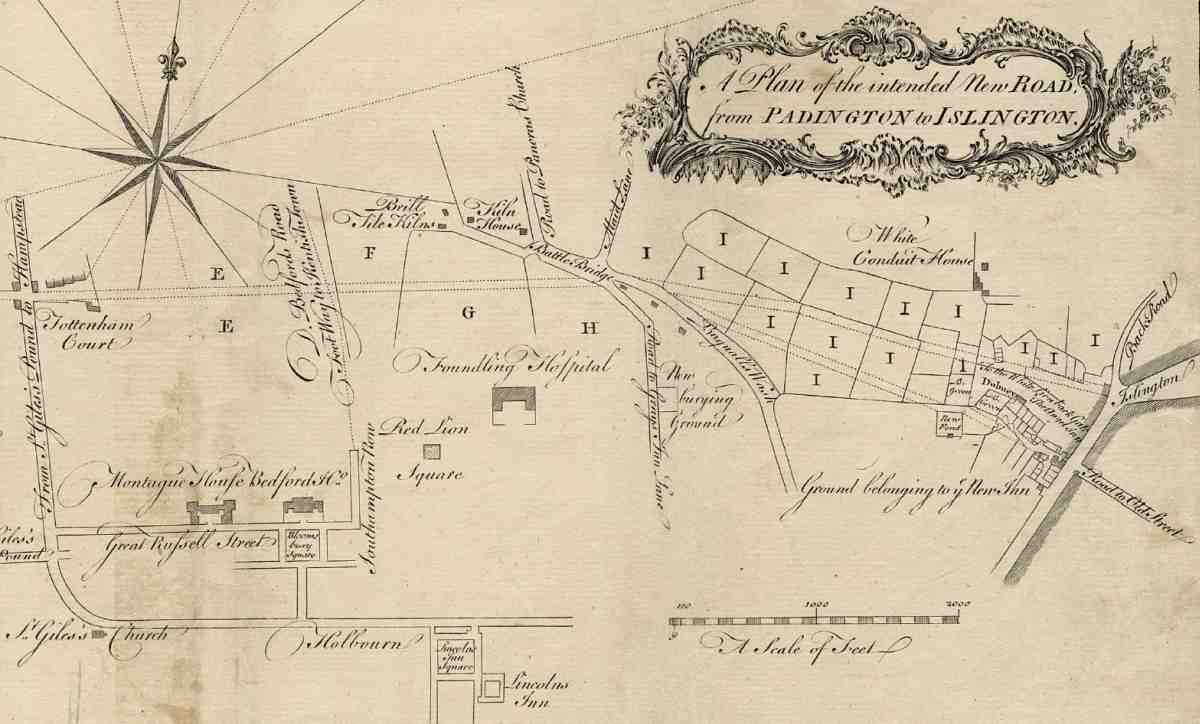 Pentonville Road British History Online Bunn Hg Wiring Diagram 430 The New Extract From A Map Of 1755 Showing Proposed Route Tottenham Court To Islington High Street With Alternative Lines East