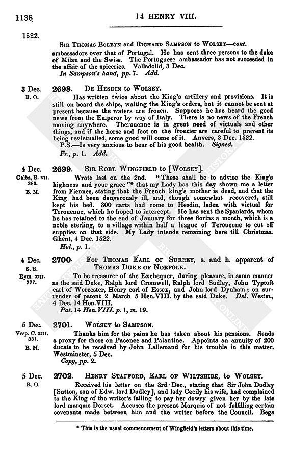 Henry VIII: December 1522   British History Online