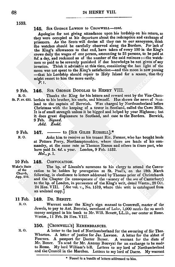 Henry VIII: February 1533, 6-10 | British History Online