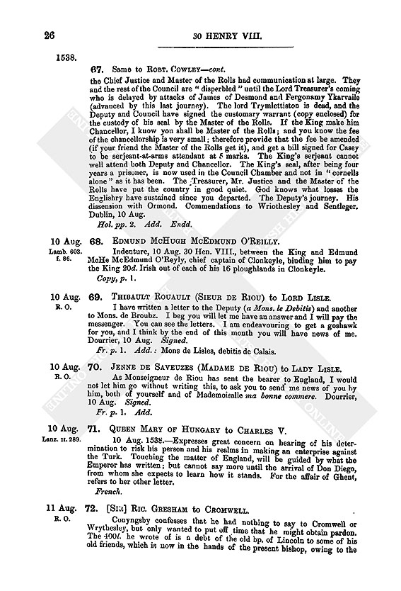 Henry VIII: August 1538 11-15 | British History Online