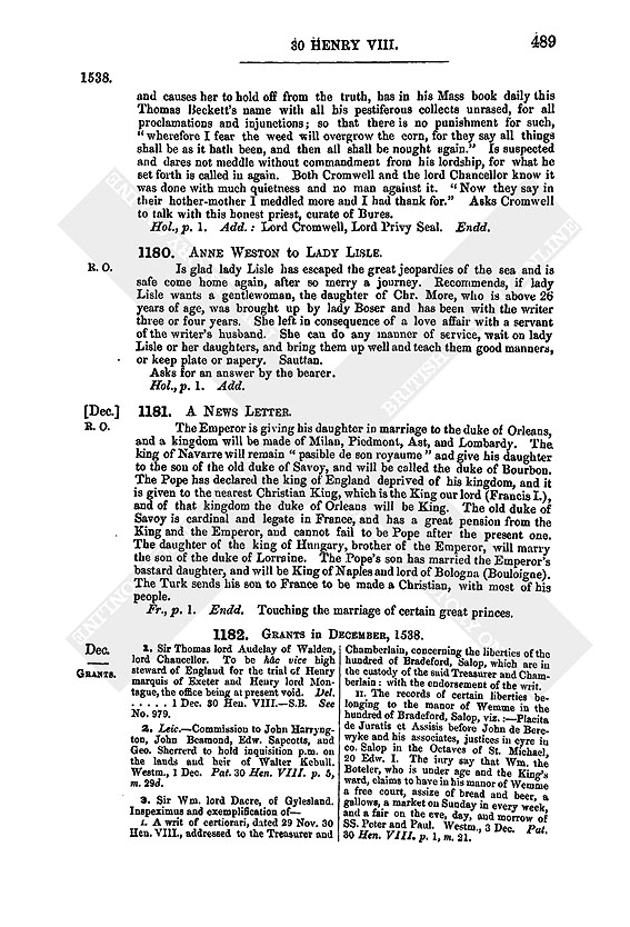 Henry Viii December 1538 26 31 British History Online
