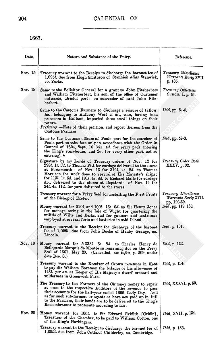 Entry Book November 1667 British History Online