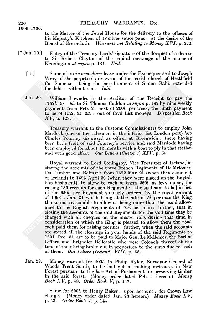 Warrants etc: January 1700 | British History Online
