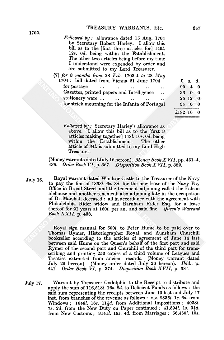 Warrant Book: July 1705, 16-20 | British History Online