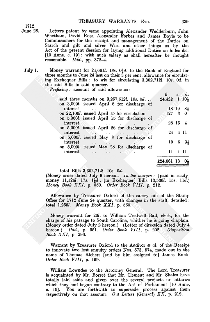 Warrant Book: June 1712, 21-28 | British History Online