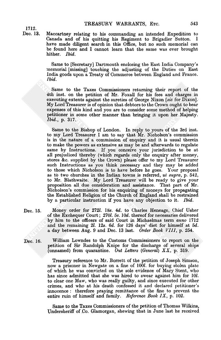 Warrant Book: December 1712,1-15 | British History Online