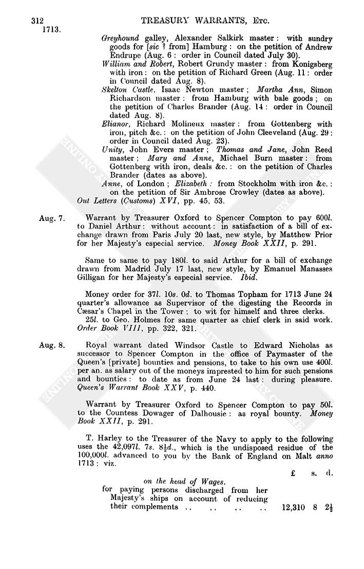 Warrant Books: August 1713, 1-15 | British History Online