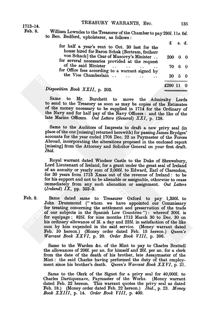 Warrant Books: February 1714, 1-10 | British History Online