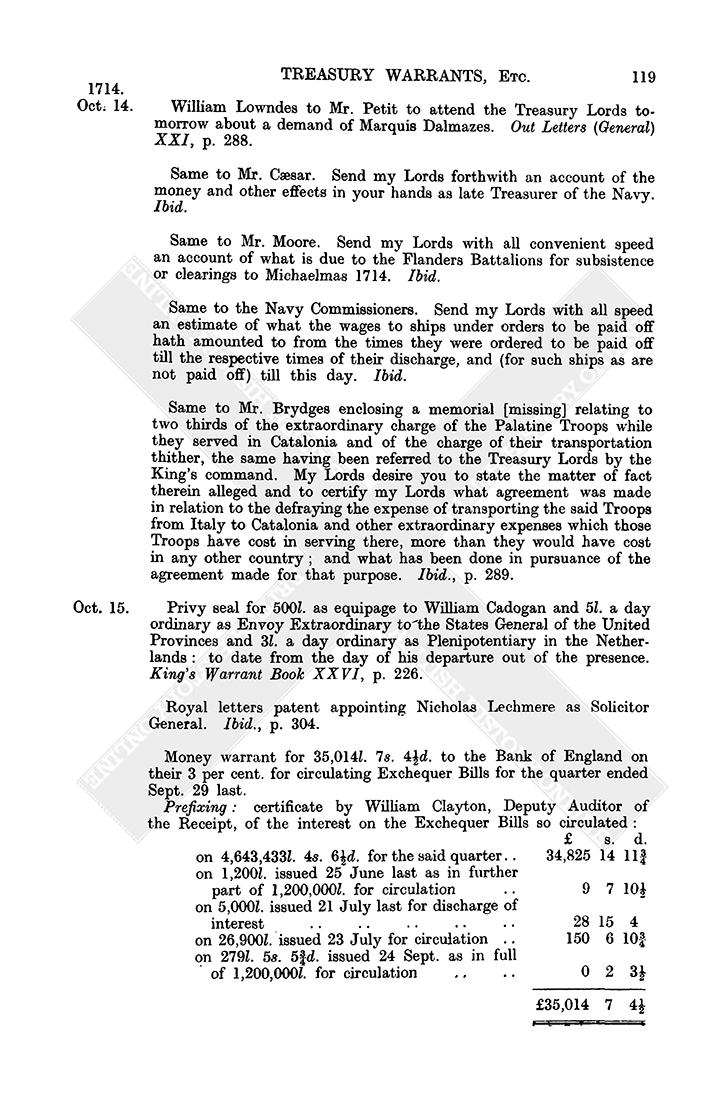 Warrant Books October 1714 1 15