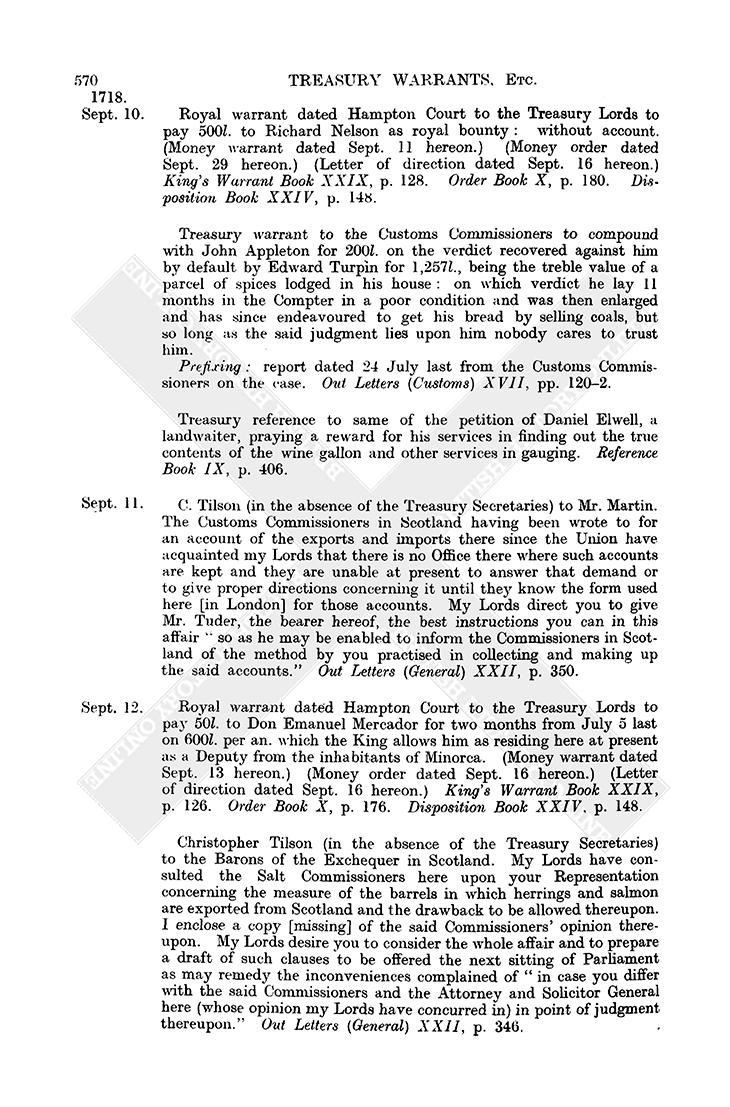 Treasury Warrants: September 1718, 1-30 | British History Online